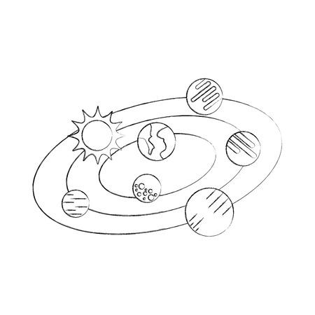 Ilustración de vector de planetas de universo solar universo de sol de nubes Foto de archivo - 86489719