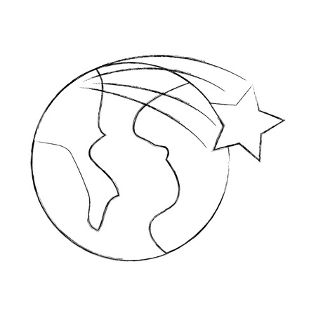 universe planet earth star space cartoon vector illustration Çizim
