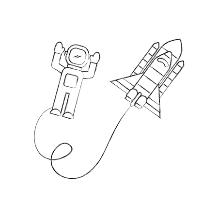 Space astronaut with spaceship travel adventure exploration vector illustration. Illustration