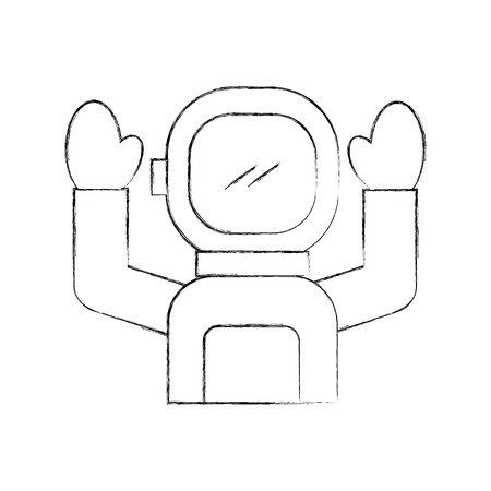 Astronaut in space suit character profession mission vector illustration.