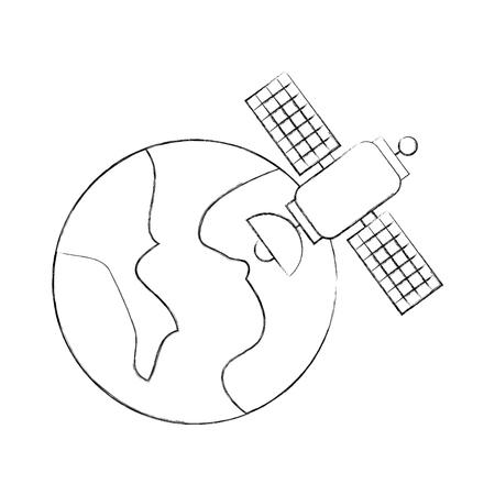 宇宙惑星地球衛星科学コミュニケーション空間ベクトルイラスト。