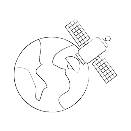 Universe planet earth satellite science communication space vector illustration.