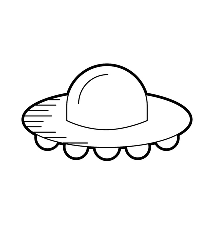Ufo flying saucer technology science transport vector illustration.