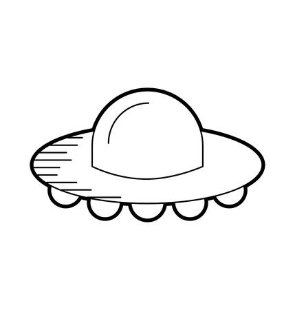 Ufo vliegende schotel technologie wetenschap transport vectorillustratie. Stock Illustratie