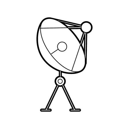 Radar dish antenna for broadcast communication vector illustration.