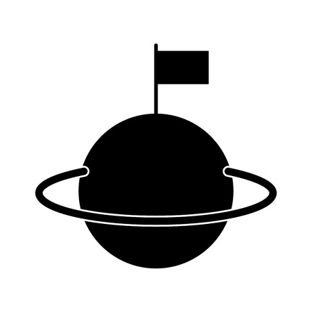 colonization: space universe saturn with flag colonization vector illustration