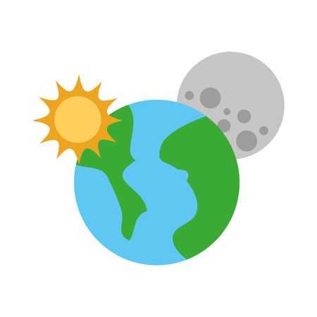 universe planet earth sun and moon space
