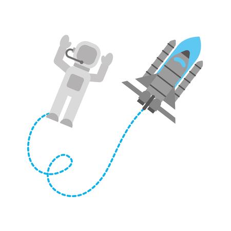 space astronaut with spaceship travel adventure exploration Illustration