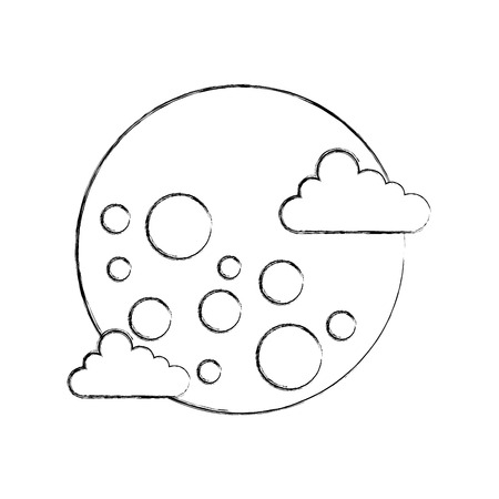 moon clouds galaxy astronomy universe science vector illustration Illustration