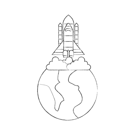 universe planet earth rocket launch space vector illustration Фото со стока - 86489787