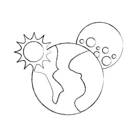 universe planet earth sun and moon space vector illustration Çizim