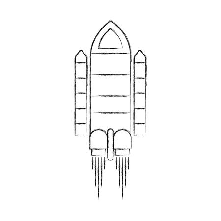 spaceship travel science exploration launch rocket vector illustration Ilustração