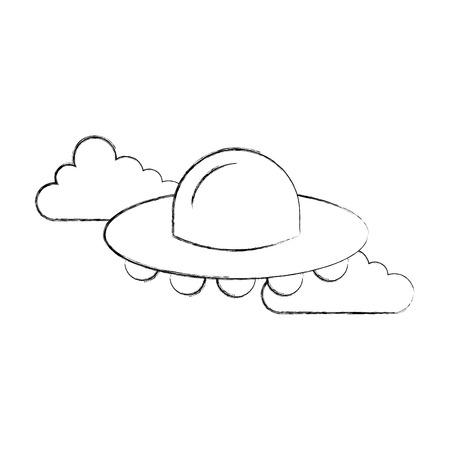 ufo flying clouds saucer technology science transport vector illustration Illustration