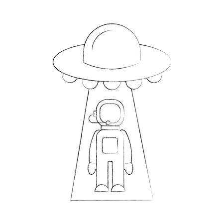 L'austronaio rapito dall'illustrazione di vettore della fantascienza del ufo Archivio Fotografico - 86489798