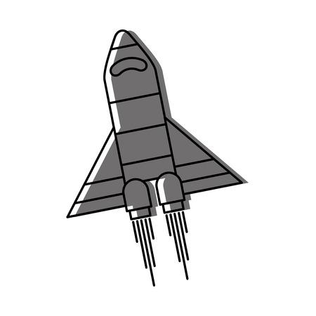 spaceship travel science exploration launch rocket vector illustration Çizim