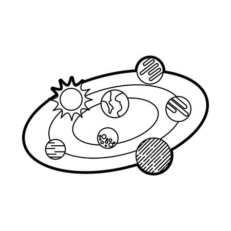 solar system universe galaxy planets sun vector illustration