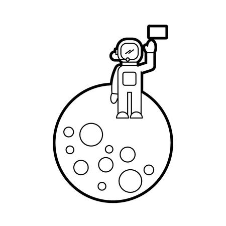 astronaut stand on the moon with flag space mission vector illustration Illusztráció