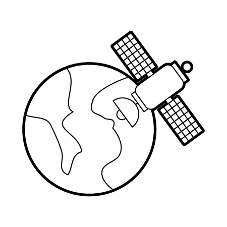 universe planet earth satellite science communication space vector illustration Illustration