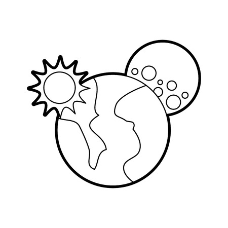 universe planet earth sun and moon space vector illustration Illustration