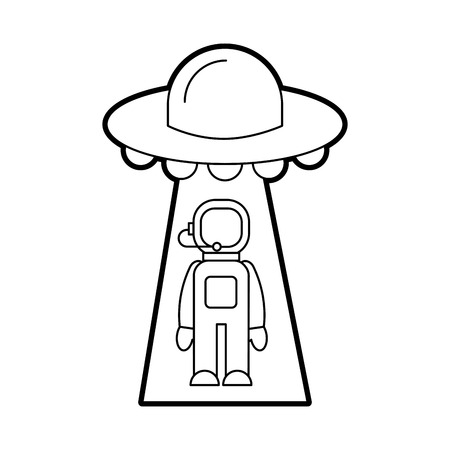 austronaut abducted by ufo science fiction vector illustration