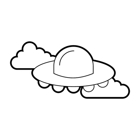 ufo flying clouds saucer technology science transport vector illustration Illustration