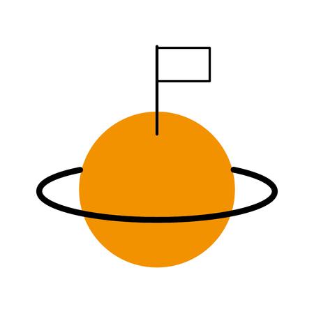 space universe saturn with flag colonization vector illustration Banco de Imagens - 86489842