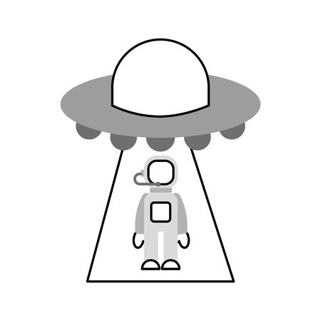 L'austronaio rapito dall'illustrazione di vettore della fantascienza del ufo Archivio Fotografico - 86489850