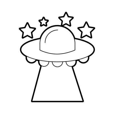 ufo 비행 별 접시 기술 과학 전송 벡터 일러스트 레이션