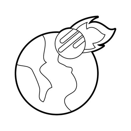 우주 행성 지구 운석 떨어지는 공간 벡터 일러스트 레이션