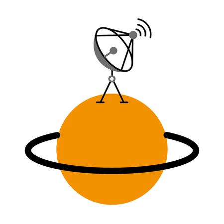 Planète Saturne avec antenne parabolique trasnmission signal vector illustration Banque d'images - 86489892
