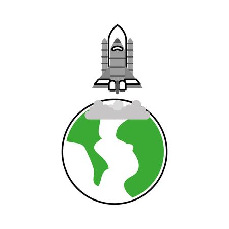 宇宙惑星地球ロケット打ち上げ空間ベクトルイラスト