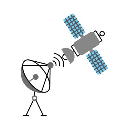 illustrazione vettoriale di rete di segnale di comunicazione di Anntena spazio antenna satellitare