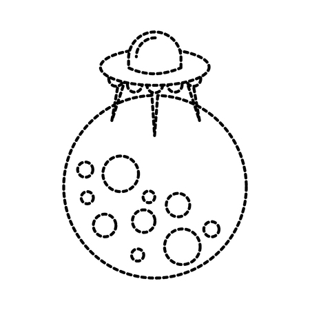 moon ufo saucer galaxy astronomy universe science vector illustration 向量圖像