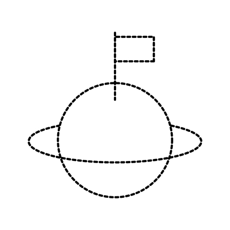 Univers saturn avec illustration vectorielle de drapeau colonisation Banque d'images - 86489913