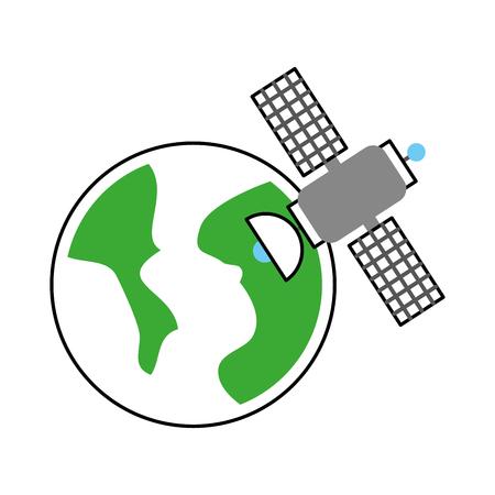 universe planet earth satellite science communication space vector illustration Illustration