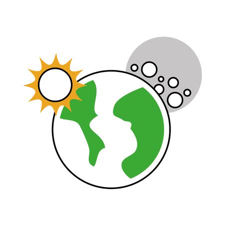 우주 행성 지구 태양과 달 공간 벡터 일러스트 레이션