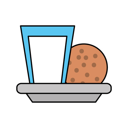 sweet cookie and glass milk breakfast vector illustration