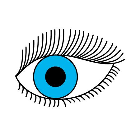푸른 눈보기 속눈썹 비전 만화 벡터 일러스트 레이션 일러스트