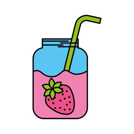 주스의 유리 항아리 straw strawberry 신선한 벡터 일러스트와 함께 일러스트