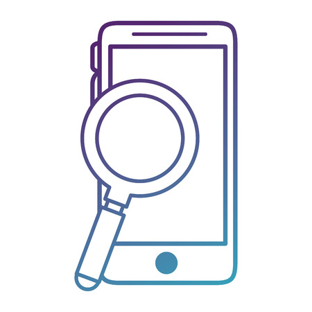 smartphone device with magnifying glass vector illustration design