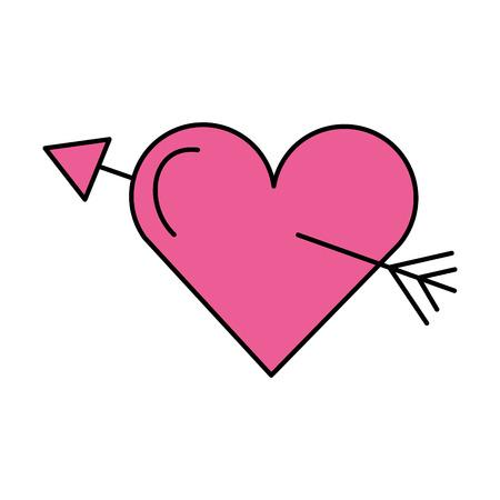 pink love heart arrow romance vector illustration