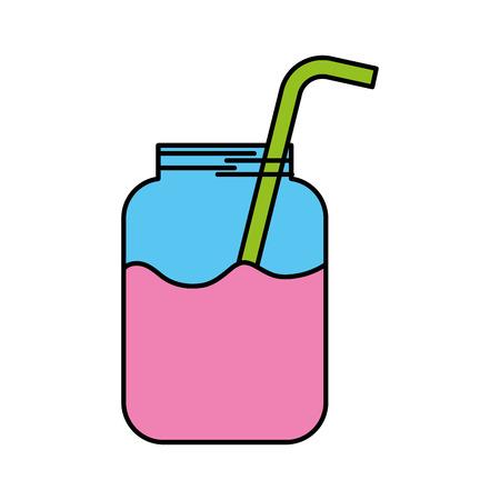 빨 대 음료와 함께 주스의 유리 항아리 신선한 벡터 일러스트 스톡 콘텐츠 - 86490012