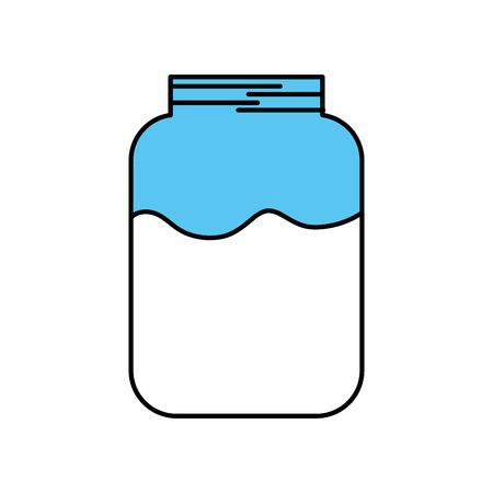 glass jar with milk drink health delicious vector illustration Ilustracja