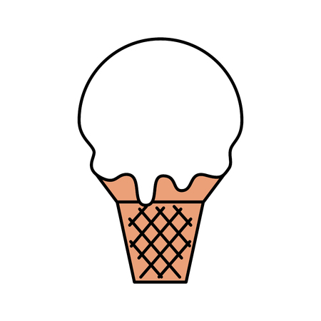 sweet ice cream cold flavor fresh tasty vector illustration