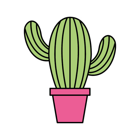cute potted cactus flora decoration natural vectotr illustration
