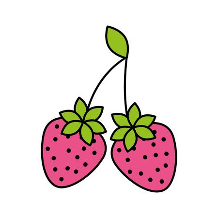 おいしい2つのイチゴ果実の葉有機ベクトルイラスト  イラスト・ベクター素材