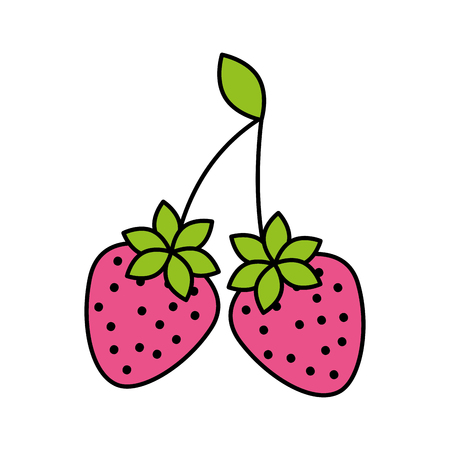 delicious two strawberry fruit leaves organic vector illustration