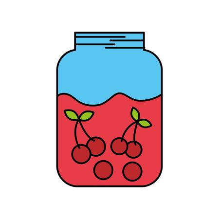 glass jar and cherries fruit beverage fresh vector illustration