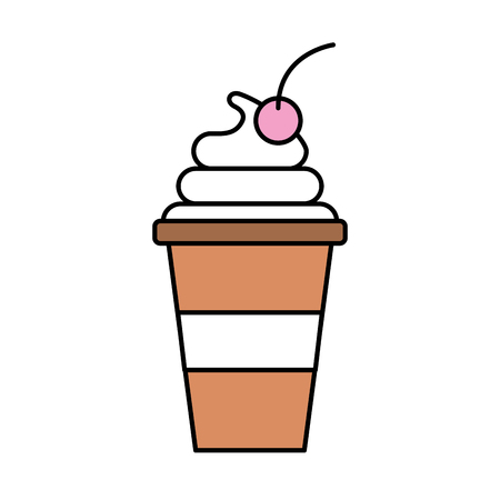 cup of ice cream cherry cartoon dessert vector illustration Иллюстрация