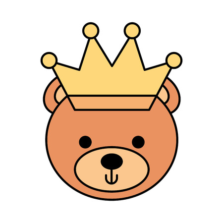 cute bear with crown teddy face toy gift vector illustration Illustration